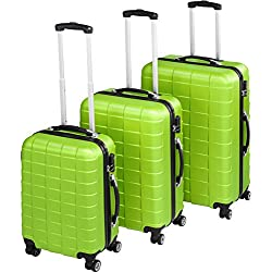 TecTake Set 3 piezas maletas ABS juego de maletas de viaje trolley maleta dura   4 ruedas de 360º   2 mangos y un asa telescópica - disponible en diferentes colores (Verde   no. 402673)