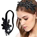 Panache Hair Band, Black Flower With Silver Design, Long Lasting Elastic Band, Accessories Collection For Women, Beauty, Hair Care & Style 70.
