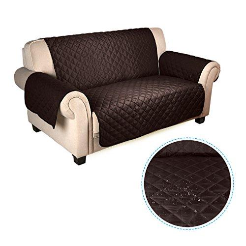 Auralum copridivano 2 posti impermeabile divano protector mobili coperture su due lati per cani / gatti letto con divano slipcovers 167 * 112cm (cioccolato / beige)