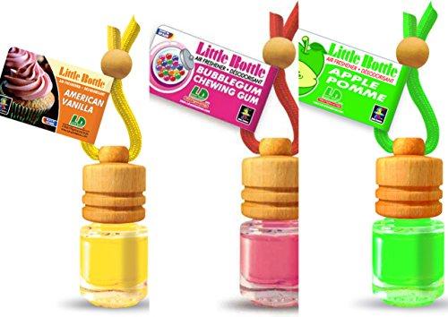 3 elegante Duftflakons für Auto und Wohnung Bestseller Mix: 1 x American Vanilla - süsse Vanille, 1 x Bubble Gum - Kaugummi,1 x Green Apple - Apfel -