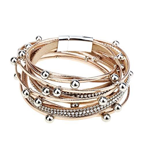 Gleamart Mehrschichtige Leder Armband Perlen Wrap Manschette Armreif für Frauen Mädchen Rose Gold (Armreif Perle Armband)