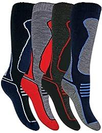 Sock Snob 4 Pares Hombre Mujer Niño y Niña Altos Lana Invierno Calcetines Esqui