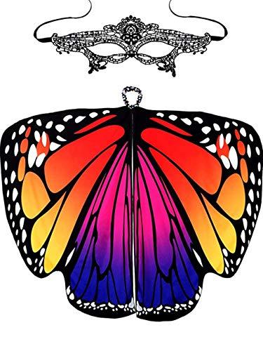 ntag Karneval Schmetterling Kostüm mit Lace Masquerade Masks Damen Schön Hingucker Schmetterling Flügel Schal Kostüm Umschlagtücher (Rot, 168 x 135cm) ()