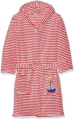Playshoes Kinder Fleece-Bademantel mit Kapuze, flauschiger Morgenmantel für Jungen und Mädchen, mit Segelboot-Stickung gestreift - Fleece-bademantel Kinder-bademantel
