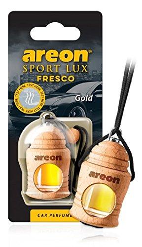 Areon Fresco Sport Lux Gold Auto Lufterfrischer Hängen am Rückspiegel Hölzern Glasflasche 3D Gadget für Innendekoration Hause Büro Düfte (Gold Packung mit 1)