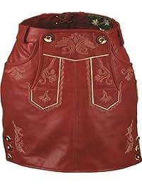 Trachten Lederrock Kurz Damen -Leder Rock Vintage Damen- Nappa Antik - Trachtenrock Knielang - Kurzer Lederrock Damen Tracht Echt Leder Alt Rot Antik in Übergrößen