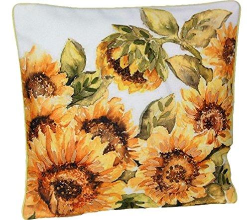 Tischdecken ALLZEIT klassisch ausgefallene Kissenhülle 40x40 cm Sonnenblumen Bändchen Stickerei braun gelb pflegeleichter Kissenbezug (Kissenhülle 40x40 cm) -