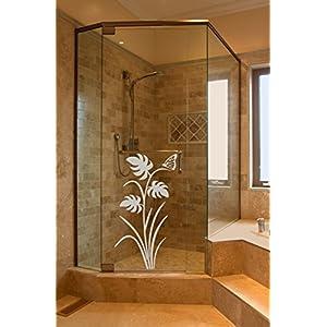 GD112 Sichtschutz Aufkleber Glasdekorfolie Dusche, Glasdekor aus wasserfester Glasdekorfolie / Fensterfolie, Badezimmer WC Bad Duschwand