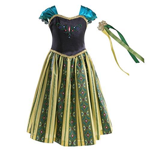 Gute Für Kostüme Drei (Pettigirl Mädchen Eiskönigin Kostüm, Prinzessinkleid, mit Haarschmuck, für 3)
