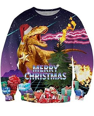 uideazone Unsiex Ugly Christmas Pullover Sweatshirts 3D Print Novelty Xmas Elf Long Sleeve Tshirt