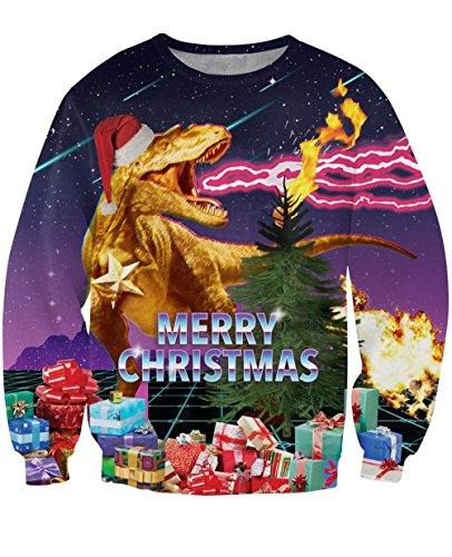 Uideazone Frohe Weihnacht-Hemd-jugendlich Druck-hässliches Weihnachtsdrache-kühles Sweatshirt,Asia M= EU S