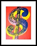 Andy Warhol Dollar Sign 1981 black & yellow on red Poster Kunstdruck Bild im Alu Rahmen schwarz 42x34cm - Germanposters