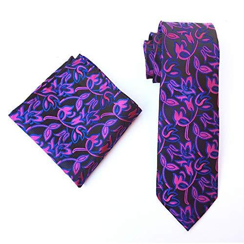 LLTYTE Krawatte Bowtie Classic Lila Gold Paisley Flower Mens Tie Taschentuch Set Seide Jacquard Krawatte Einstecktuch Set Hochzeit Party Bräutigam Krawatten - Paisley Mens Tie
