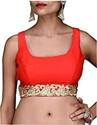 SINGAAR Red Sleeveless Readymade Blouse- Round Back Design - Lace, Latkan & Dori -All Sizes-100% Perfect Fitting