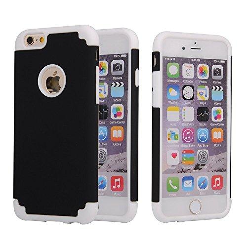 iPhone 6S Plus Case, iPhone 6 Plus Case, Lantier mince Slim Slick Armure hybride [Protection d'angle] dur antichoc double couche en silicone pour Apple iPhone 6 Plus / 6S plus de 5,5 pouces (rouge + D White+Black