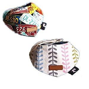 Fully 2x Panier pour chien chiot chat Triangle salive Bandana Col écharpe foulard collier Tête pour animal Chiot