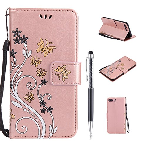 Cover per iPhone 7 Plus,per iPhone 8 Plus Custodia Pelle, ZCRO Premium Cuoio Libro Portafoglio Cover con Fiori Farfalla Brillantini Elegante Glitter Colorate Disegni Supporto Stand Case Antiurto Custo Design 1 Oro Rosa