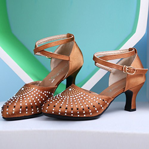 Azbro Women's Round Toe Rhinestone Decoration Mary Jane Dancing Shoes Brown