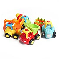 Konig Kids Happy Singing Trucks, Tractor Bulldozer Cement Mixer Dump Truck Toys For Girls And Boys 18 Months + Set of 4 (Singing Truck)