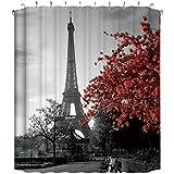 CRITY - Cortina de Ducha con diseño de Torre Eiffel y 12 Ganchos, Impermeable,