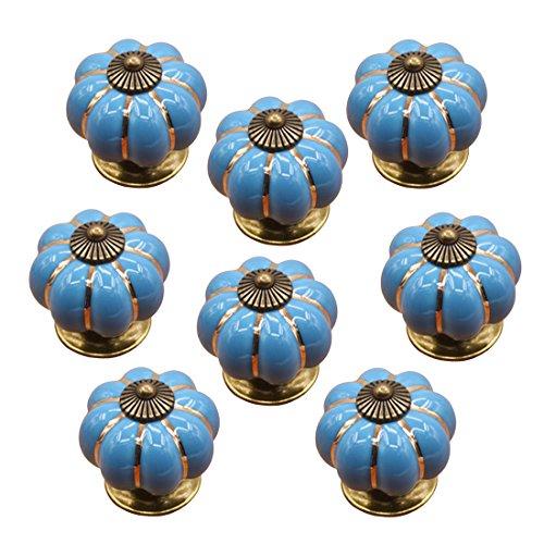 Foxom ceramica porta Pull cucina zucca maniglie del cassetto manopole, Blue, 3.8*3.8*3.9cm - Maniglia Blue Door