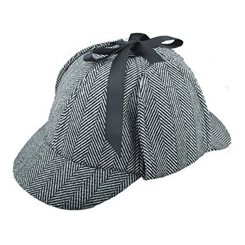 EINSKEY Sherlock Holmes Mütze Kinder Erwachsene Spiel Cosplay Detective Deerstalker Hut für Halloween, Martinstag, Weihnachten, B1, S