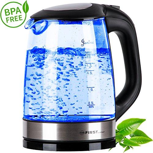 TZS First Austria - 2 Liter Glas Wasserkocher mit blaue LED Beleuchtung | 2200 Watt | Kalkfilter | schwarz Edelstahl Design | automatische Deckelöffnung | verdecktes Heizelement | große Füllmenge