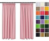 Rollmayer 2er Pack Vorhänge mit Bleistift Kollektion Vivid (Pink 10, 135x240 cm - BxH) Blickdicht Uni einfarbig Gardinen Schal für Schlafzimmer Kinderzimmer Wohnzimmer 2 Stück