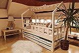 Oliveo Mon lit cabane Barrières de sécurité et tiroir, Lit pour Enfants,lit d'enfant,lit cabane avec barrière, 5 Jours Livraison (120 x 60 cm, Tiroir et lit: Aucun)
