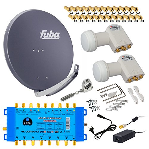 FUBA 8 Teilnehmer 2 SAT Digital SAT Anlage DAA850A + Opticum LNB 0,1dB FULL HDTV 4K + PMSE Multischalter 9/8 + 24 Vergoldete F-Stecker Gratis dazu