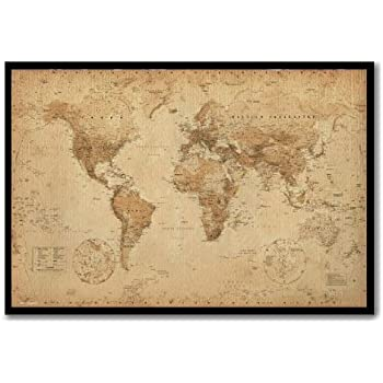 World map pin board framed in oak wood includes pins 965 x 66 world map poster ye old parchment cork pin memo board black framed 965 x 66 cms approx 38 x 26 inches gumiabroncs Choice Image