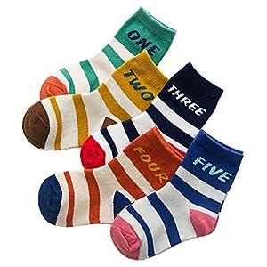 RUOHAN Kinder Socken 5 Paar Kindersocken Baumwollkindersocken Herbst Und Winter Digitalstreifen Baumwollsportsocken