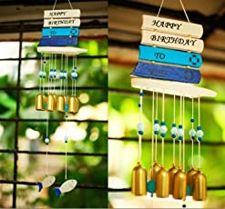 Paradigm Pictures Fengshui Happy B'day Birthday 8 Brass Bell Windchime for Home Decor Good Luck Gift Positivity Vastu Correction