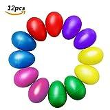 Maracas huevo,BEETEST®Plástico Huevo de percusión (12PCS)Percusión portátil huevo Musical Maracas huevo cocteleras niño Huevo vibrador juguetes de instrumento educativo temprano Color al azar
