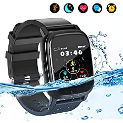 Smart Watch Fitness Tracker, Bluetooth Smartwatch IP68 étanche avec Moniteur de fréquence Cardiaque Step Counter Tracker, rappelez l'activité Trackers pour Hommes/Femmes pour Android iOS (Black)