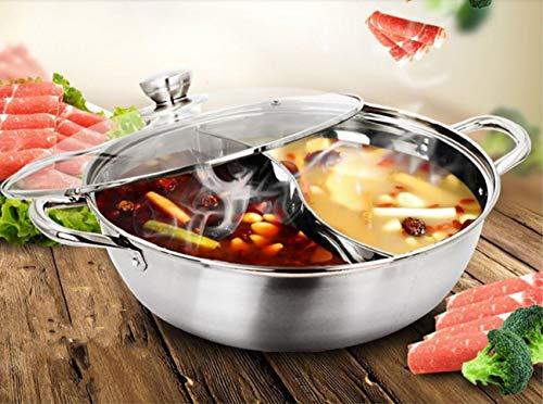 WJJJ Hot Pot Autoayuda Mandarin Duck PotSoup Pot 2 Grid 2 Taste Saucepans Fondue Pot Acero Inoxidable Manija práctica Resistente al Calor (34 cm)