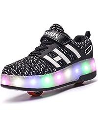 Luckly Grace Led Leuchtend Schuhe Mit Rollen Sportschuhe Turnschuhe Outdoor Blinkschuhe SkateboardSchuhe 7 Farbe Farbwechsel Rädern Rollschuhe Sneaker für Kinder Junge Mädchen