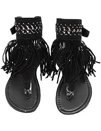 Evedaily Donna Sandali Boemo Nappa Glitter con Paillettes Perline Scarpe  Clip Toe Spiaggia Estiva Pantofole a4ddcff1382