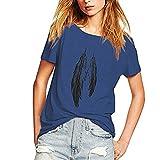 SANFASHION Femme T-Shirt Décontracté Ample en Plumes Haut Imprimé Chic Mode Ete Top Pas Cher Haut Blanche Chemise Casual Blouse Fille Mode Grande Taille Plage Lot de Couleurs