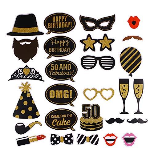BESTOYARD 27pcs 50 Cumpleaños Bricolaje años Divertidos decoración del Favor máscaras Sombrero Gafas para niños Mujeres Hombre