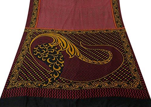 Indian Vintage-Upcycled-Material Saree 100% reine Seide mit Blumenmustern Maroon Sari (Sari Maroon)