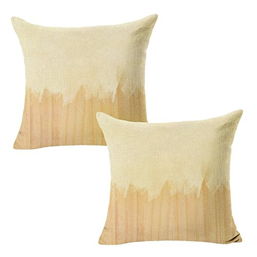 "WOMHOPE Set of 2 Pcs - 18"" Watercolor Gradients Beige Cotton Linen Square Throw Covers Pillow Covers Cushion Cover Pillowcase for Couch,Sofa (Beige & Brown)"