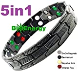 Moneekar Jewels Titanium Magnetic Therapy 5 in 1 Energy Germanium Armband Power Bracelet