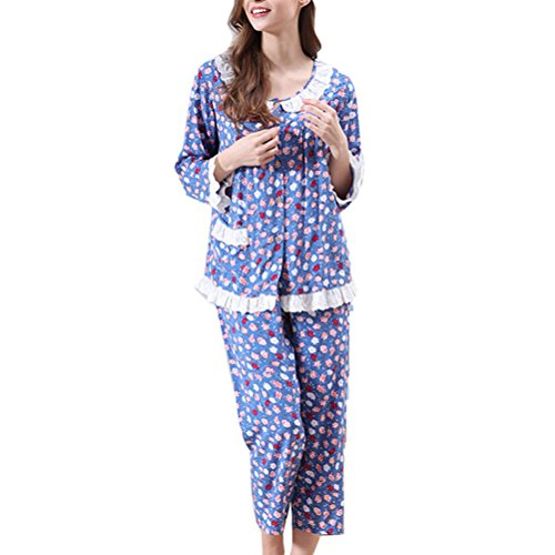 Zhhlaixing 2 Colors Women's Pyjama Set Two pieces Floral Long Sleeve Sleepwear Blue