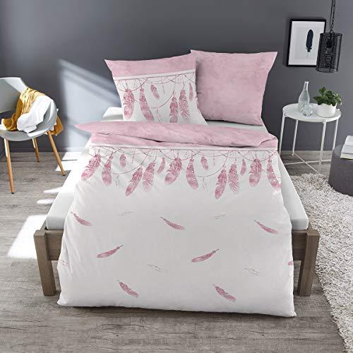 Dormisette Feinbiber Bettwäsche Federn weiß 1 Bettbezug 135x200 cm + 1 Kissenbezug 80x80 cm