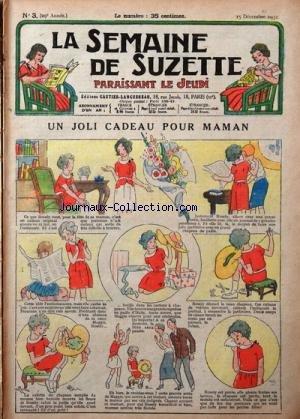 SEMAINE DE SUZETTE (LA) [No 3] du 15/12/1932 - UN JOLI CADEAU POUR MAMAN - BECASSINE DANS LA NEIGE