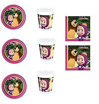 CDC - Kit N ° 4 Fête et Party Masha et orso- (32, 32 verres, 40 assiettes 40 serviettes)