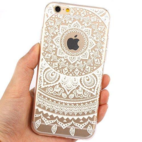 JIAXIUFEN TPU Clear Silicone Étui Housse Protecteur Coque pour Iphone 6 plus / iPhone 6s plus - Pink White Tribal Henna Color17