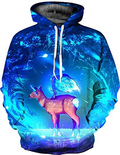 KamiraCoco 3D Druck Kapuzenpullover Herren Cartoon Sweatshirt Weihnachten Langarm Top Shirt Herbst Winter Drawstring Hoodie Pullover mit Kapuze Sternenhimmel Hirsch