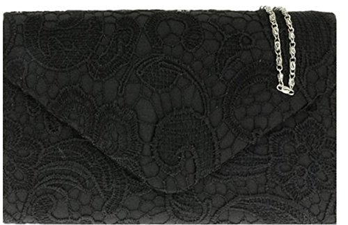 H&G Ladies Satin Lace Clutch Bag Shoulder Chain Elegant Wedding Evening Womens - Black (Clutch Handle Chain)